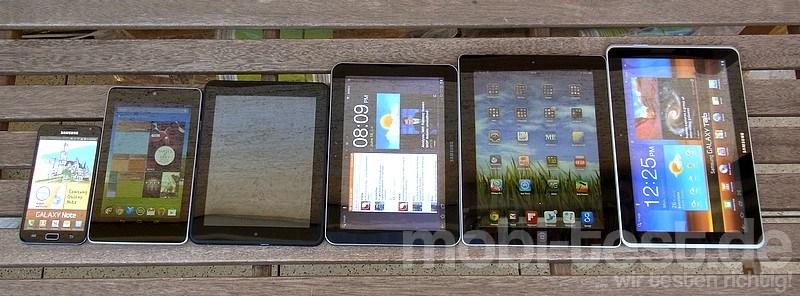 Samsung Tablet-Größen