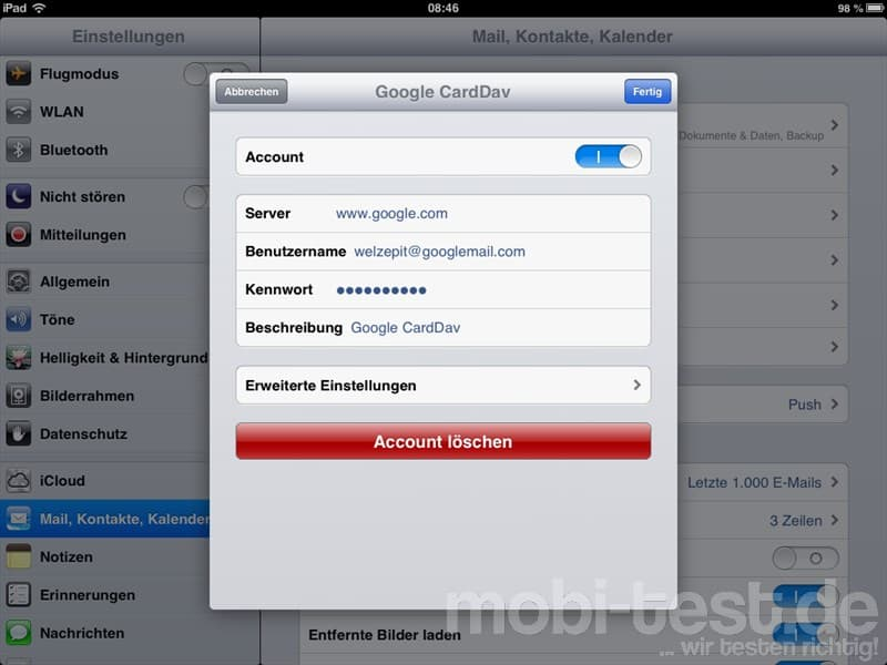 iOS CardDAV Konfiguration (3)