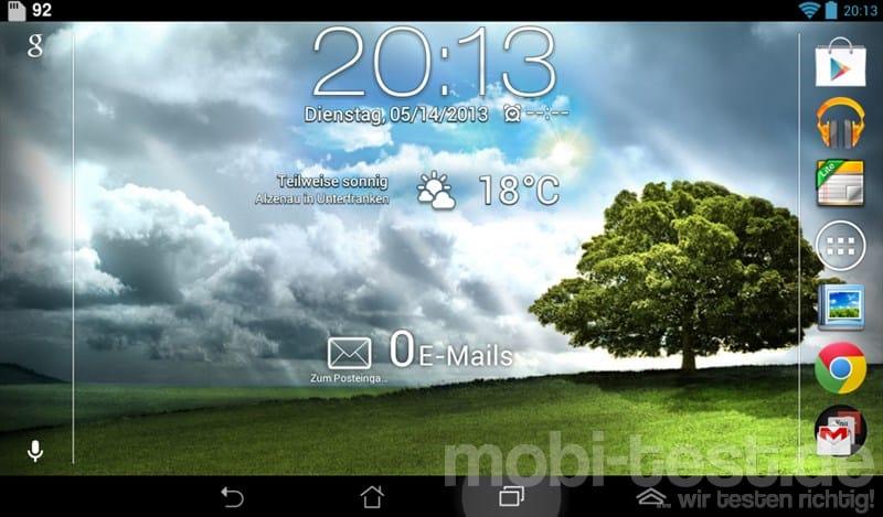 ASUS Memo Pad ME172V Homescreen
