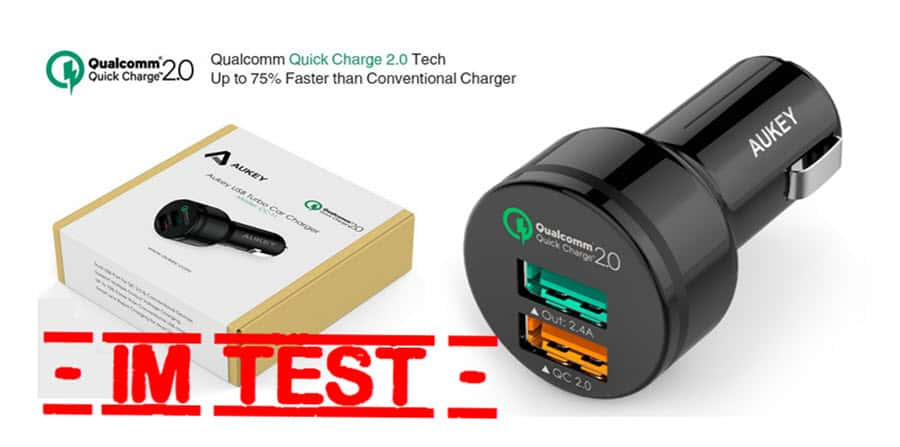 Aukey Quick Charge 2.0 KFZ-Ladegerät Banner