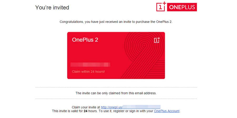 OnePlus Two Invite Banner