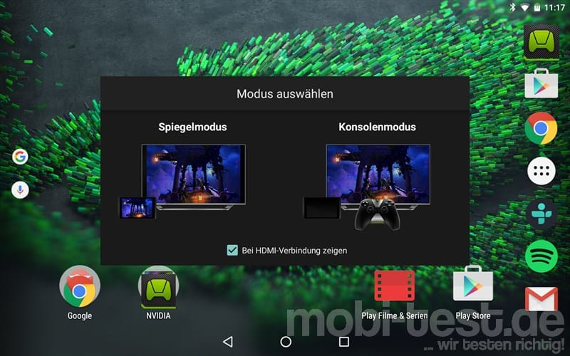Nvidia Shield Tablet K1 Verbindung
