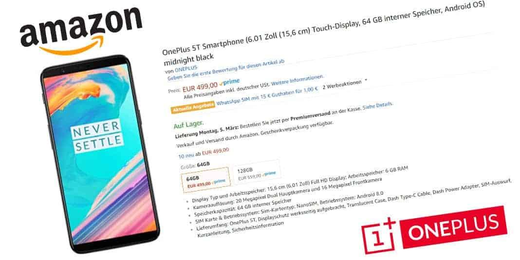 OnePlus 5T ab sofort bei Amazon erhältlich